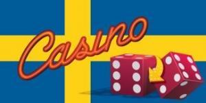 svensk flagga med röda tärningar